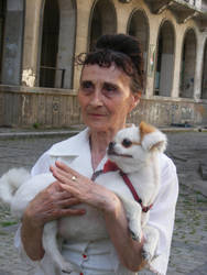 Woman with a dog. two