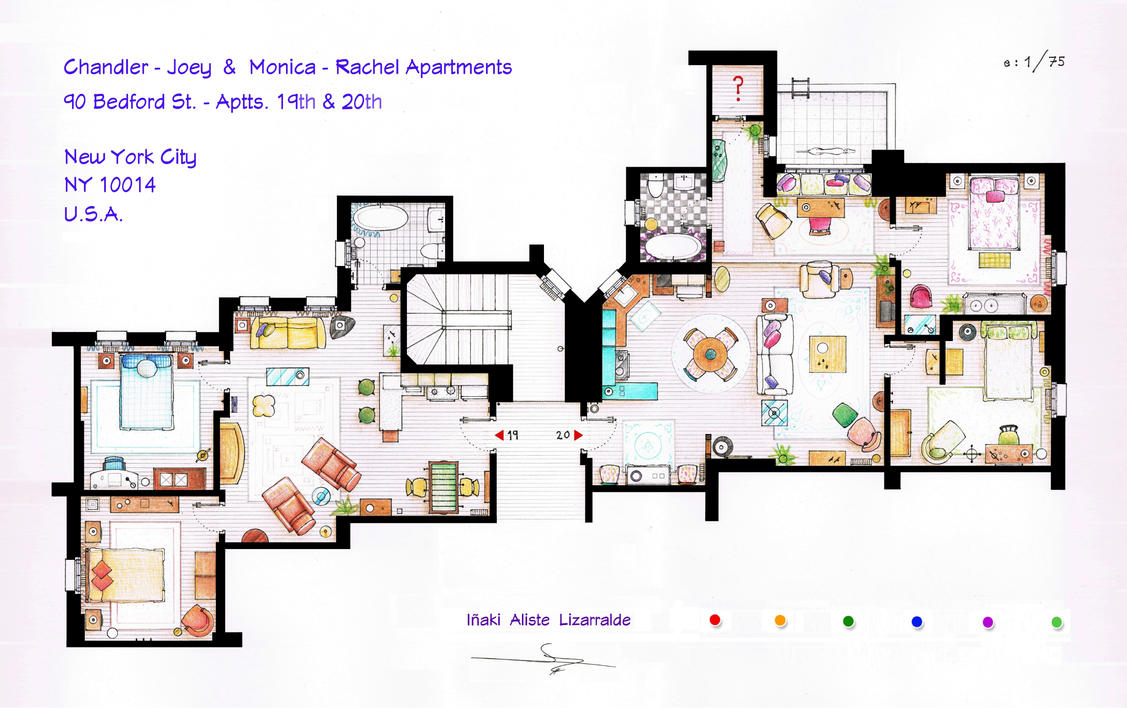 FRIENDS Apartments Floorplan Old version by nikneuk on DeviantArt – Sitcom House Floor Plans