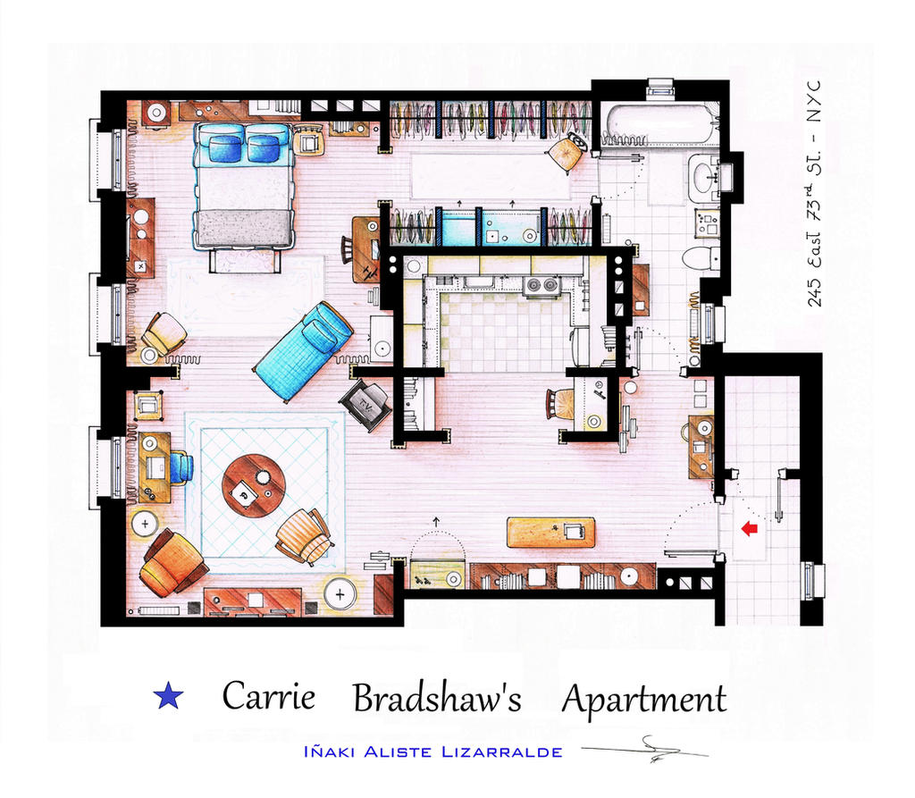 Carrie Bradshaw apartment from Sex and The City by ~nikneuk