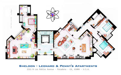 Sheldon, Leonard and Penny Apartment from TBBT
