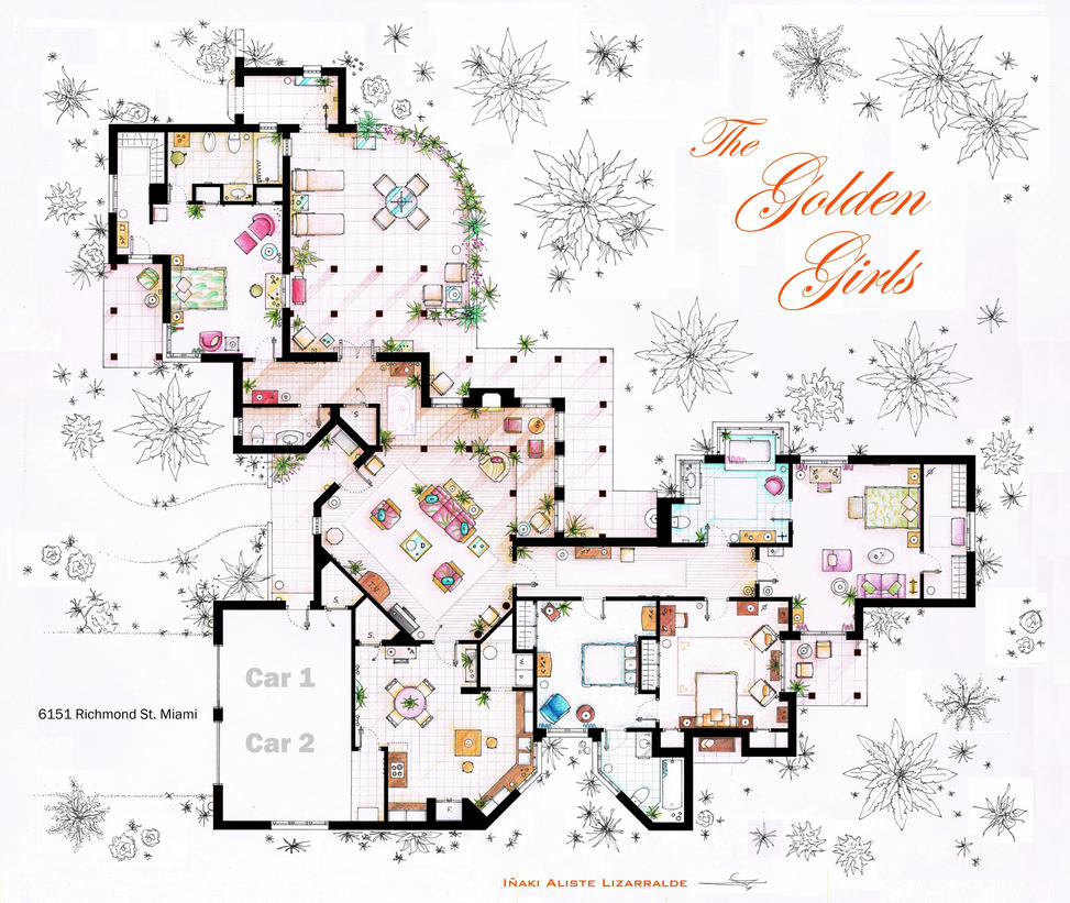 The Golden Girls House floorplan v2 by nikneuk on DeviantArt – Sitcom House Floor Plans