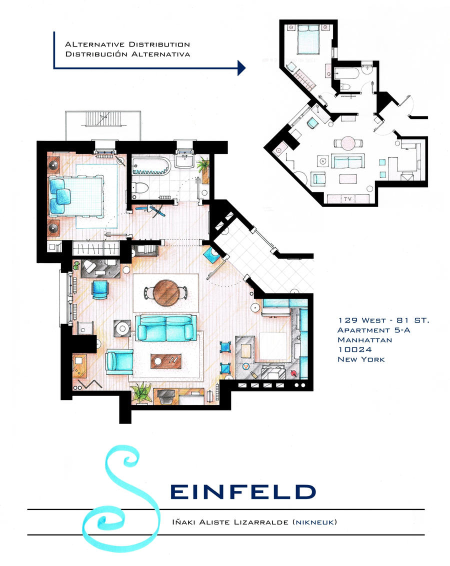 Jerry Seinfeld Apartment floorplan v2 by nikneuk