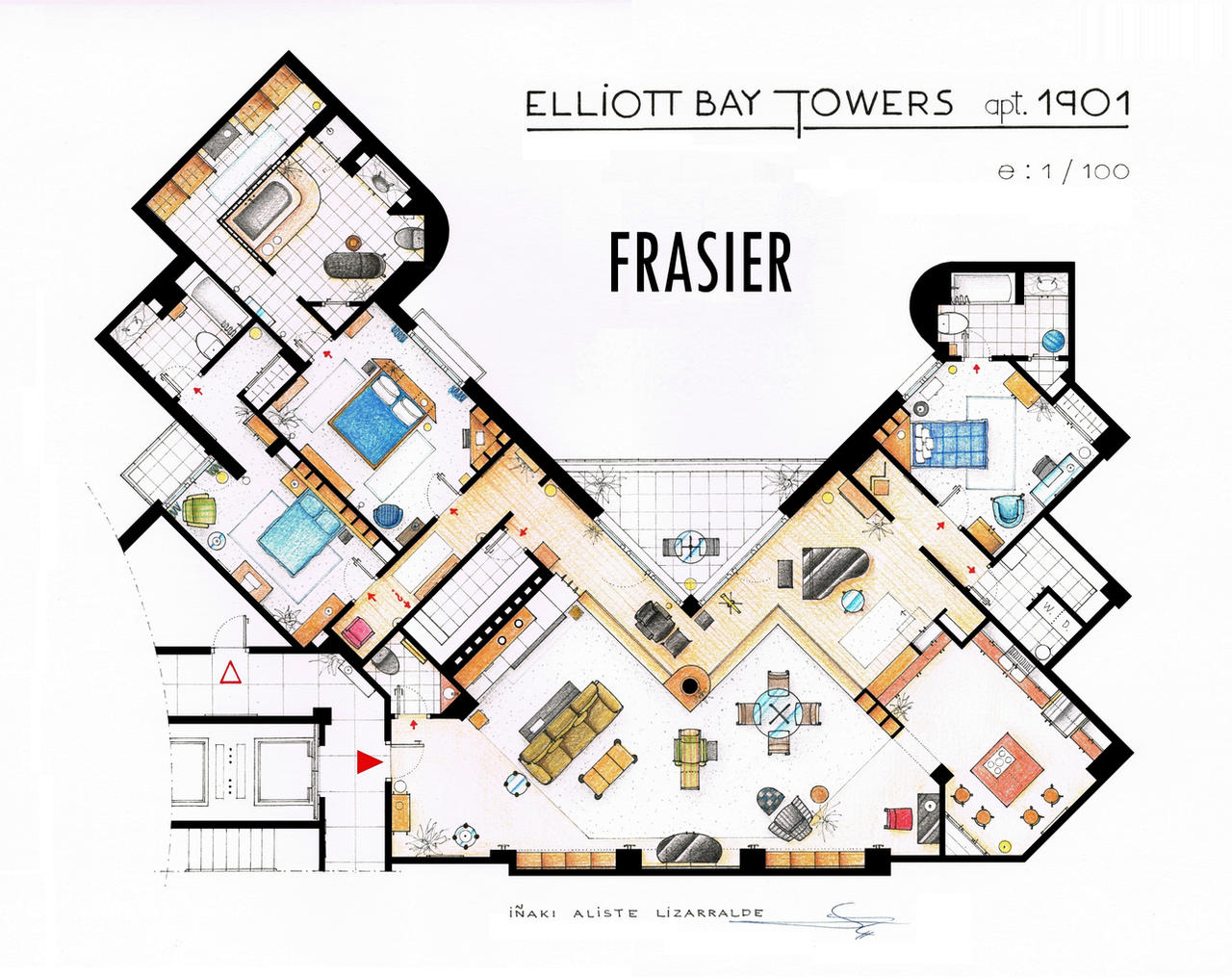 Frasier's Apartment Floorplan - Old version by nikneuk