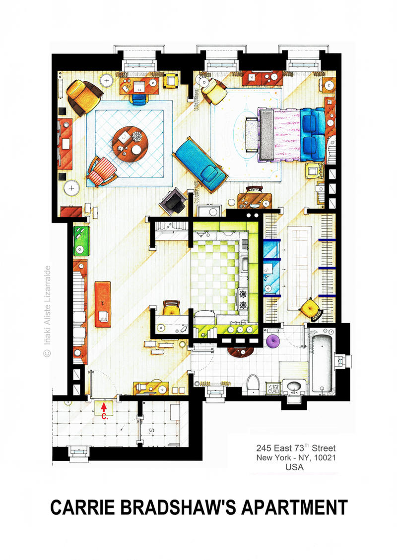 Carrie bradshaw apartment from sex and the city v2 by - Carrie bradshaw apartment layout ...