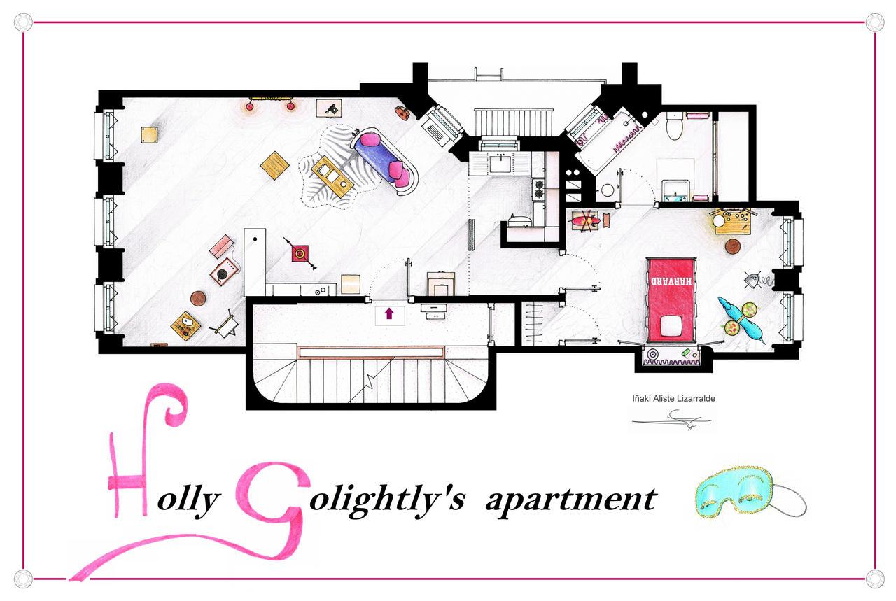 Breakfast at Tiffany's Apartment floorplan Poster