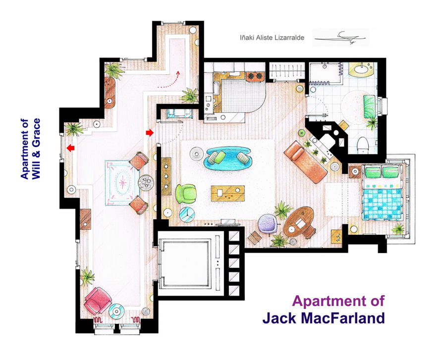 Jack macfarland 39 s apartment from 39 will and grace 39 by for The nanny house layout
