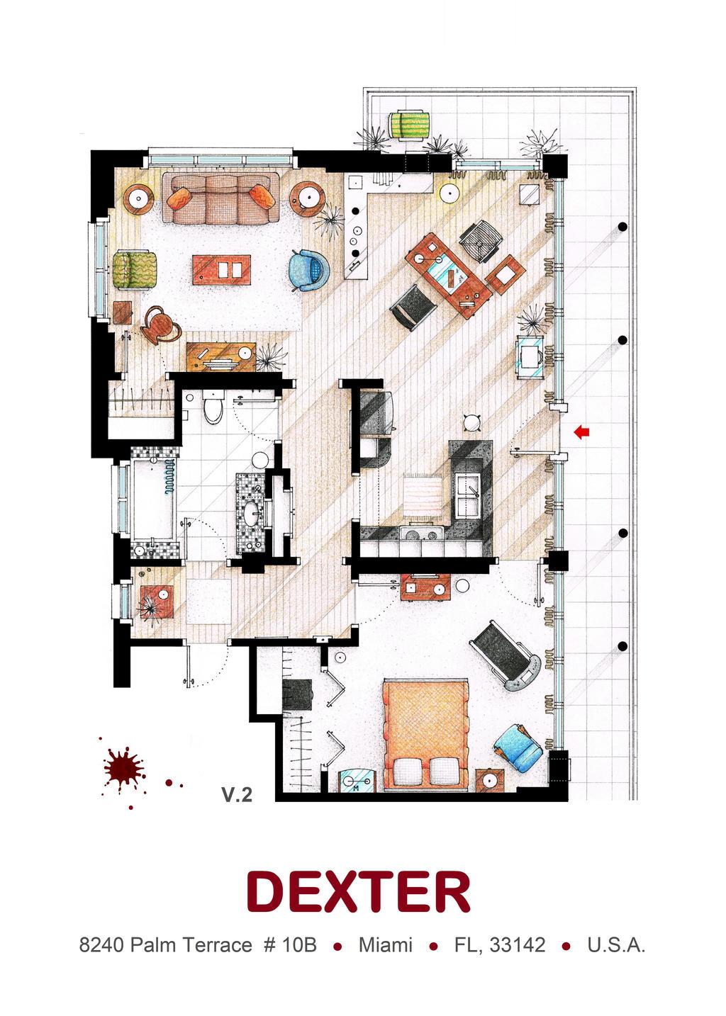 Floorplan of Dexter Morgan's Apartment v.2
