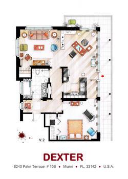 Floorplan of Dexter Morgan's Apartment v.2 by nikneuk