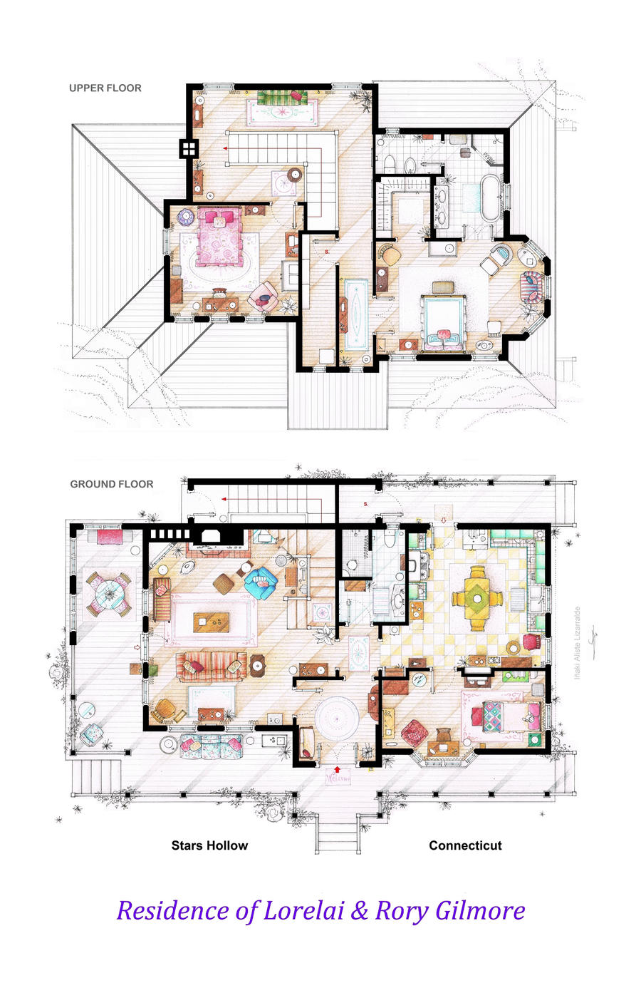 House Of Lorelai And Rory Gilmore Floorplans By Nikneuk On
