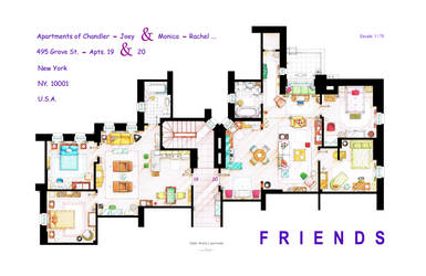 FRIENDS Apartment's Floorplans - Version 2 by nikneuk
