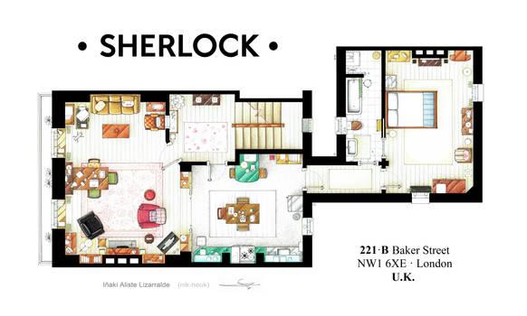 Floorplan of Sherlock Holmes apt. from BBCs series by nikneuk