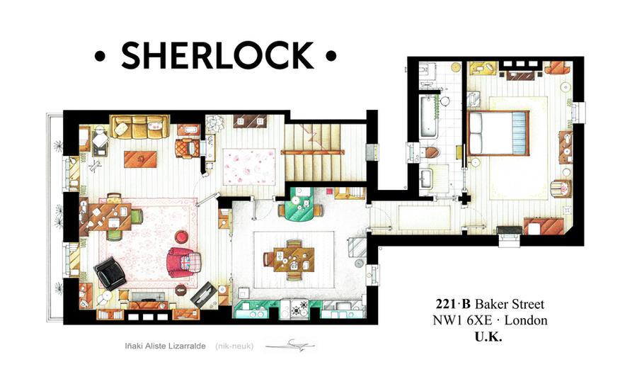 Floorplan Of Sherlock Holmes Apt From Bbcs Series By Nikneuk