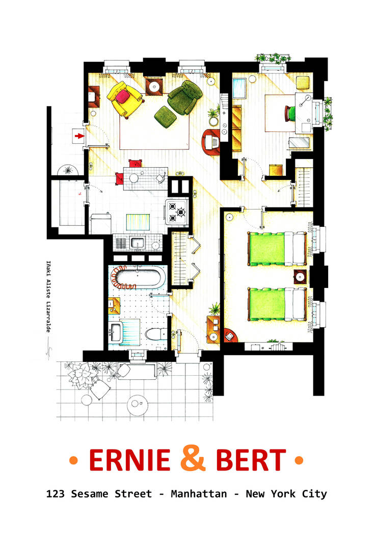 Floorplan Of Ernie And Bert Apartment On Sesame St By Nikneuk