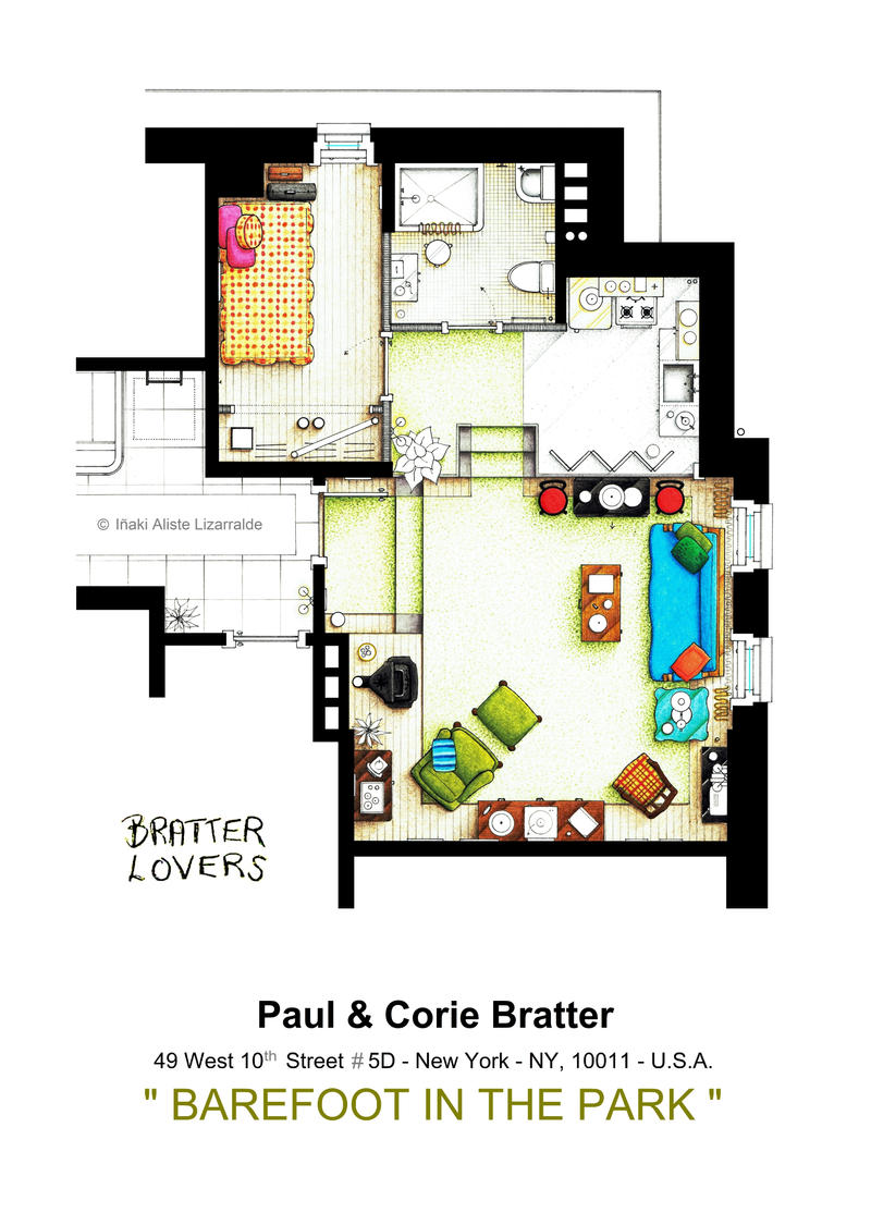 BAREFOOT IN THE PARK - Floorplan of the apartment by nikneuk