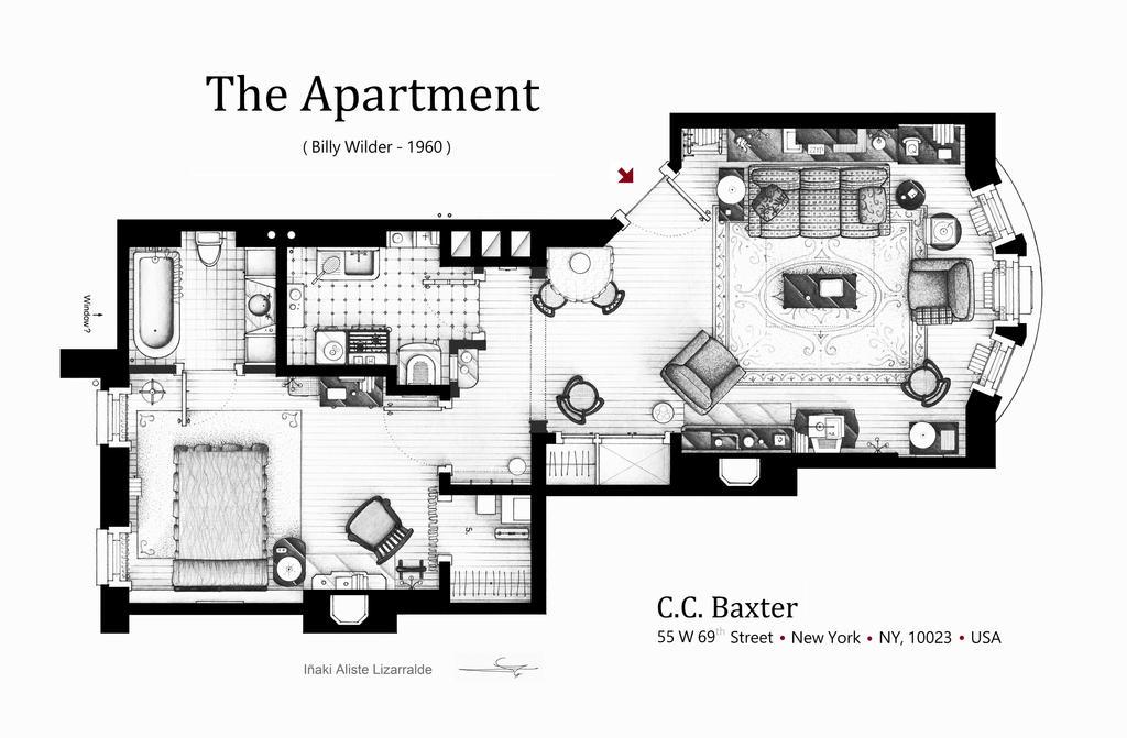 Floorplan of C.C. Baxter's apartment by nikneuk