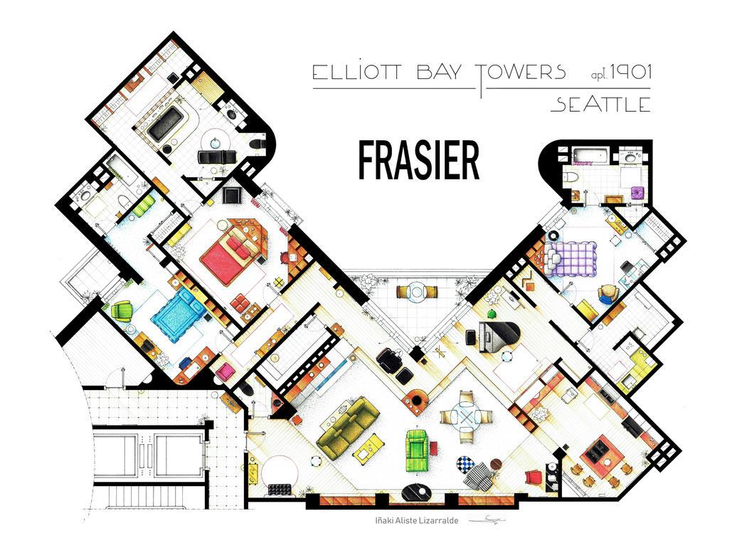 Floorplan of Frasier's apartment Updated by nikneuk