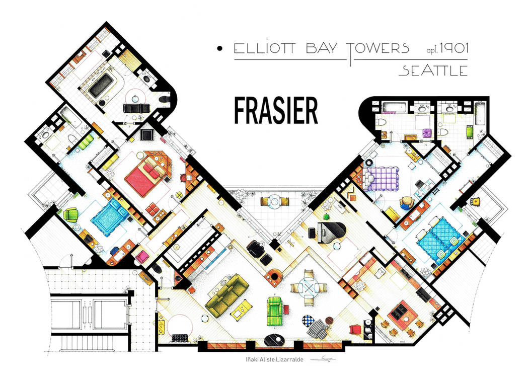 Floorplan Of Frasier S Apartment Version 2 By Nikneuk