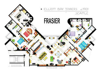 Floorplan of Frasier's apartment - Version 2 by nikneuk