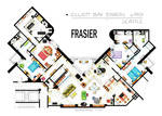 Floorplan of Frasier's apartment - Version 2