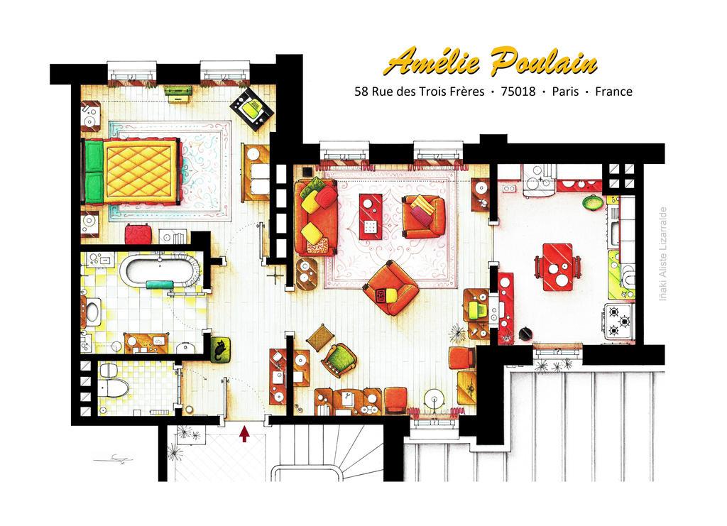 Floorplan of AMELIE's apartment in Montmartre by nikneuk