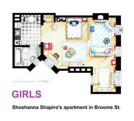 Floorplan of Shoshanna Shapiro's apt from GIRLS