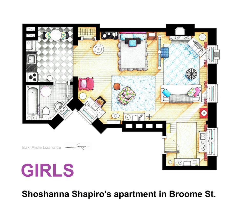 Floorplan of Shoshanna Shapiro's apt from GIRLS by nikneuk
