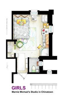 Floorplan of Marnie Michael's estudio from GIRLS