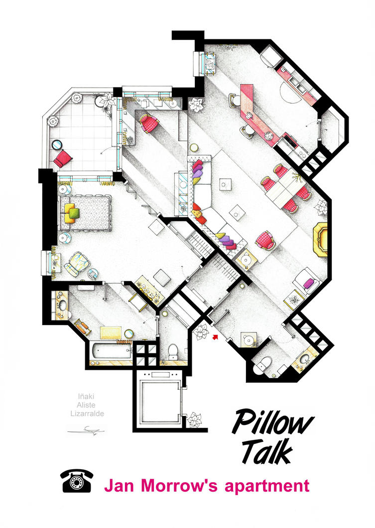 Floorplan of Jan Morrow's apt. from PILLOW TALK by nikneuk