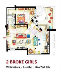 Floorplan of the apt. from 2 BROKE GIRLS version A by nikneuk