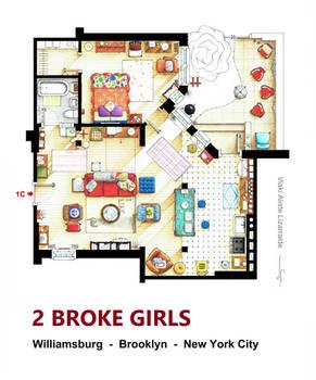 Floorplan of the apt. from 2 BROKE GIRLS version A