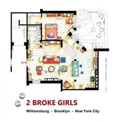 Floorplan of the apt. from 2 BROKE GIRLS version B by nikneuk
