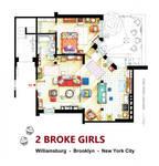 Floorplan of the apt. from 2 BROKE GIRLS version B