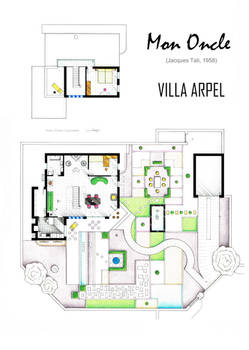 Floorplan of Villa Arpel from the film MON ONCLE