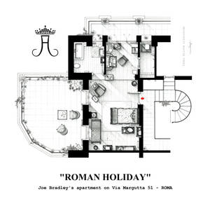 Floorplan of Joe Bradley's apt. from ROMAN HOLIDAY