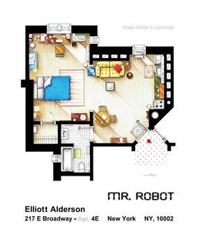Floorplan of Elliot Alderson apt. from MR ROBOT