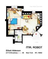 Floorplan of Elliot Alderson apt. from MR ROBOT by nikneuk