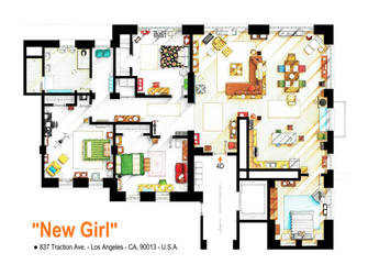 Floorplan of the loft/apartment from NEW GIRL.