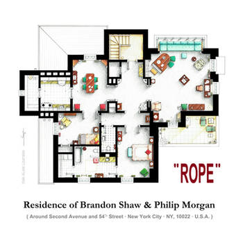Floorplan of the apartment from Hitchock's ROPE by nikneuk