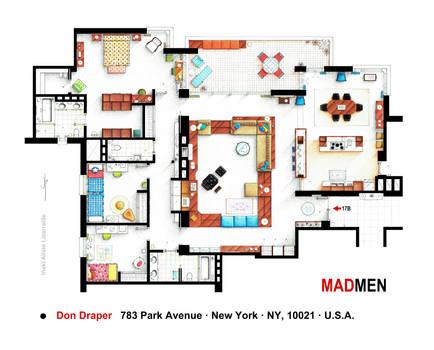 Floorplan of Don Draper's apartment from MAD MEN