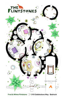 Floorplan of the house from THE FLINTSTONES - A