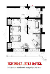 Floorplan of room 413 from SOME LIKE IT HOT movie