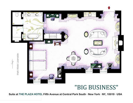 Floorplan of suite from the movie BIG BUSINESS