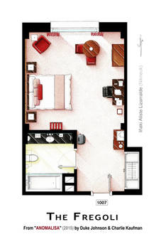 Floorplan of room 1007 from the movie ANOMALISA