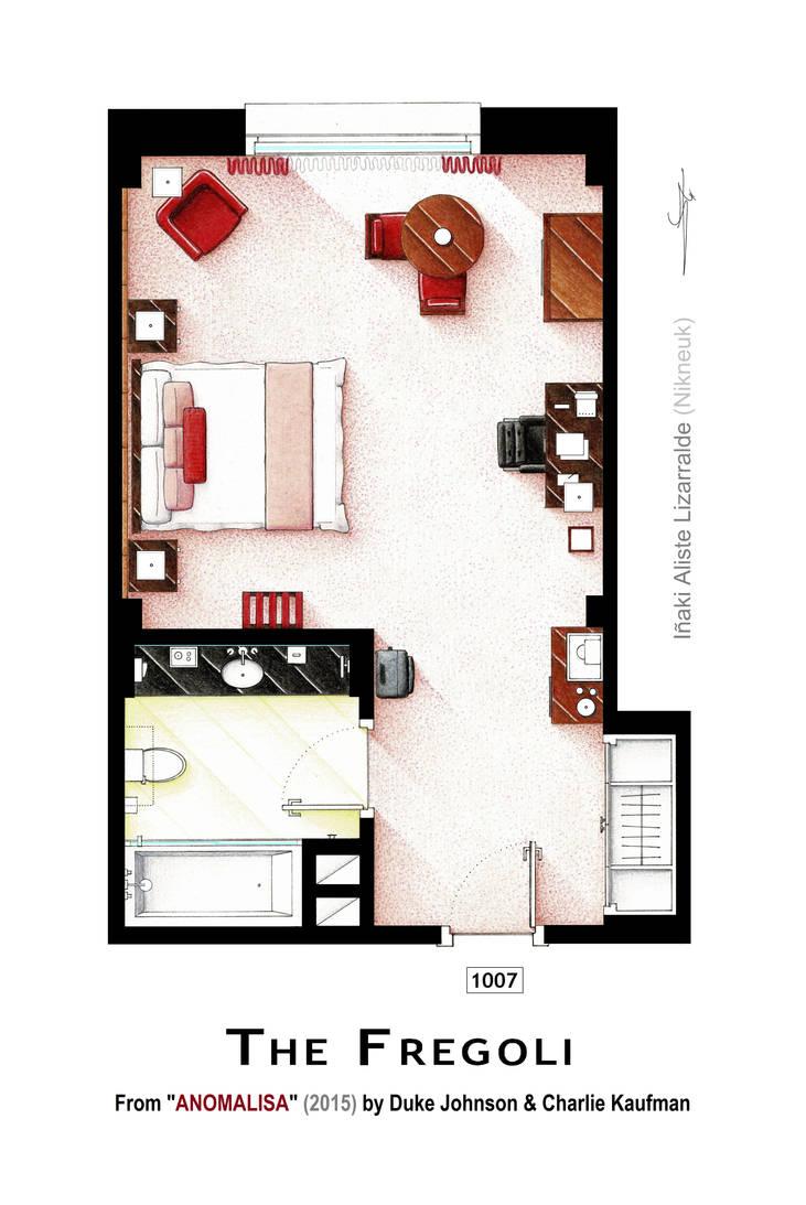 Floorplan of room 1007 from the movie ANOMALISA