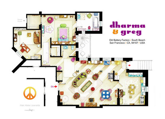 Floorplan of DHARMA and GREG apartment