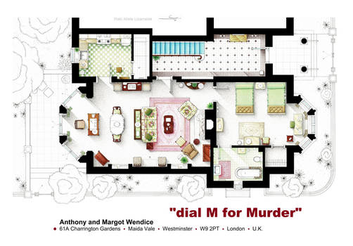 Floorplan from Hitchcock's DIAL M for MURDER