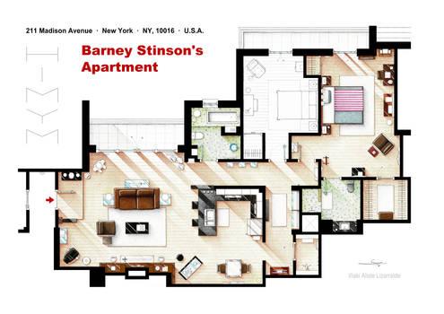 Floorplan of Barney Stinson's apartment from HIMYM