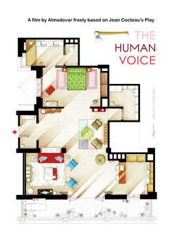 Floorplan of Almodovar's THE HUMAN VOICE apartment