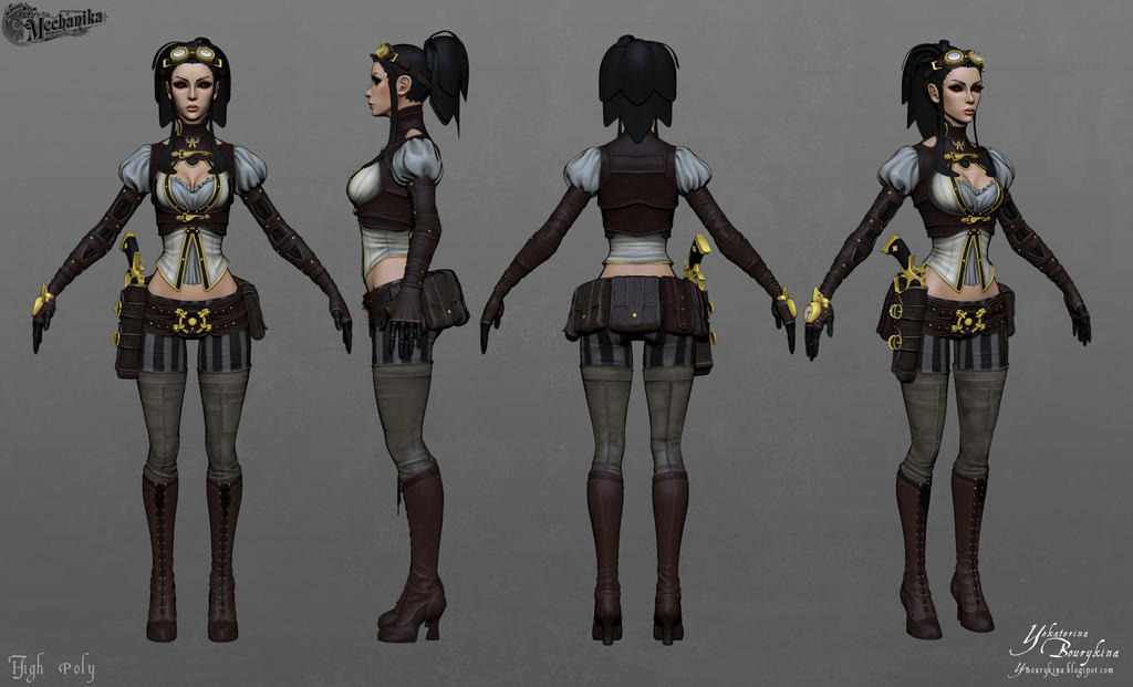 Lady Mechanika: High Poly - Poly Painted by YBourykina