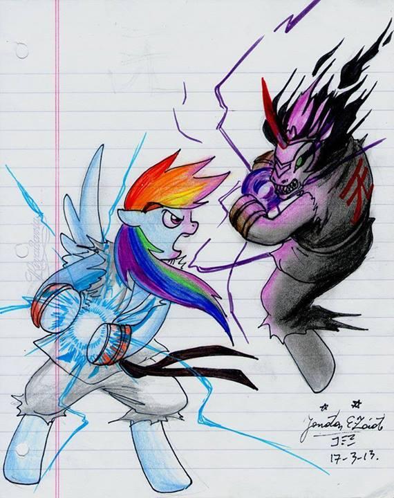rainbow dash vs king sombra by themasterdramon on deviantart